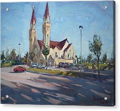 Croatian Centre-the Queen Of Peace Acrylic Print by Ylli Haruni