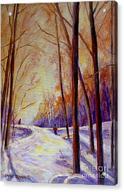 Cross Country Sking St. Agathe Quebec Acrylic Print by Carole Spandau