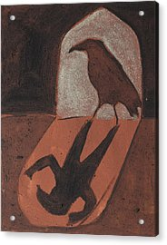 Crow In The Doorway Of Life With Woad Acrylic Print by Sophy White