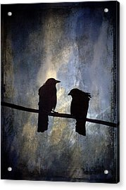 Crows And Sky Acrylic Print by Carol Leigh