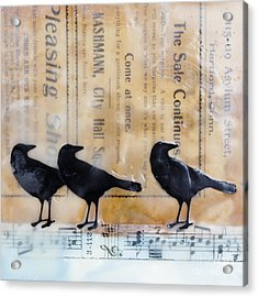 Crows Encaustic Mixed Media Acrylic Print by Edward Fielding