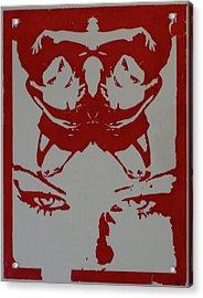 Crucifer Gaze, Red Acrylic Print by Erik Paul