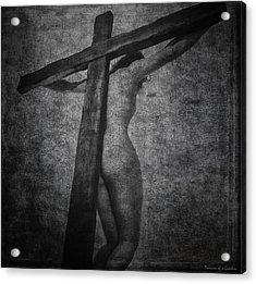 Crucifix In Dark Painting Acrylic Print by Ramon Martinez
