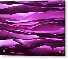 Crumpled Sheets Of Purple Paper. Acrylic Print by Ballyscanlon
