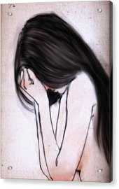 Crying Acrylic Print by H James Hoff