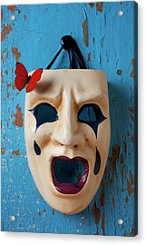 Crying Mask And Red Butterfly Acrylic Print by Garry Gay