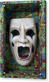 Crying Mask In Box Acrylic Print by Garry Gay