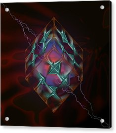 Cube With Thunders 01 Acrylic Print by Aleksandar Zisovski