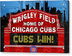 Cubs Win Wrigley Field Chicago Illinois Recycled Vintage License Plate Baseball Team Art Acrylic Print by Design Turnpike