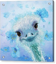 Curious Ostrich Acrylic Print by Jan Matson