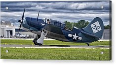 Curtiss Helldiver In Color Acrylic Print by Steven Ralser