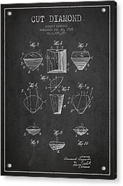 Cut Diamond Patent From 1935 - Charcoal Acrylic Print by Aged Pixel