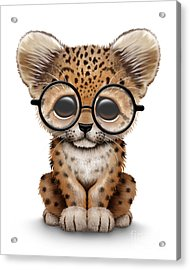 Cute Baby Leopard Cub Wearing Glasses Acrylic Print by Jeff Bartels