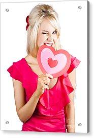 Cute Woman Biting Big Red Love Heart Acrylic Print by Jorgo Photography - Wall Art Gallery