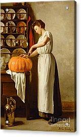 Cutting The Pumpkin Acrylic Print by Franck-Antoine Bail
