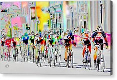 Cycling Down Main Street Usa Acrylic Print by Vicki Pelham