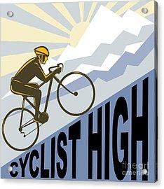 Cyclist Racing Bike Acrylic Print by Aloysius Patrimonio