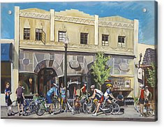 Cyclists At The Roasters Acrylic Print by Colleen Proppe