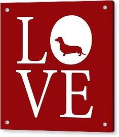 Dachshund Love Red Acrylic Print by Nancy Ingersoll
