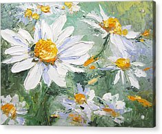 Daisy Delight Palette Knife Painting Acrylic Print by Chris Hobel