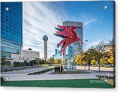 Dallas Neon Red Pegasus Acrylic Print by Tod and Cynthia Grubbs