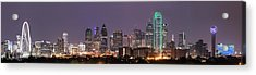 Dallas Skyline At Night Pano Acrylic Print by Tod and Cynthia Grubbs