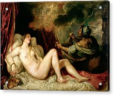 Danae Receiving The Shower Of Gold Acrylic Print by Titian