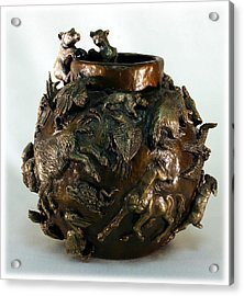 Dance Of The Seasons - Bronze Bowl With Bear Cubs Acrylic Print by Dawn Senior-Trask