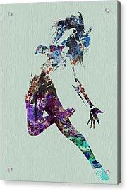 Dancer Watercolor Acrylic Print by Naxart Studio