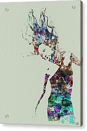 Dancer Watercolor Splash Acrylic Print by Naxart Studio