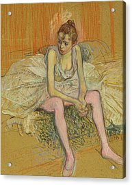 Dancer With Pink Stockings Acrylic Print by Henri de Toulouse-Lautrec