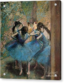 Dancers In Blue Acrylic Print by Edgar Degas