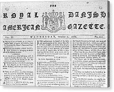 Danish West Indies 1772 Acrylic Print by Granger