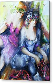 Danseuse With Mentor Acrylic Print by Claire Sallenger Martin