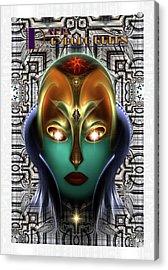 Daria Cyborg Queen Tech Fractal Portrait Acrylic Print by Xzendor7