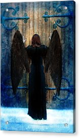 Dark Angel At Church Doors Acrylic Print by Jill Battaglia