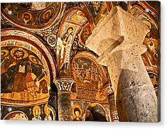 Dark Cave Church Byzantine Frescoes Acrylic Print by Denise Lett