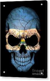Dark El Salvador Flag Skull Acrylic Print by Jeff Bartels