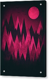 Dark Triangles - Peak Woods Abstract Grunge Mountains Design In Red Black Acrylic Print by Philipp Rietz
