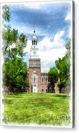 Dartmouth College Watercolor Acrylic Print by Edward Fielding