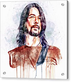 Dave Grohl Watercolor Acrylic Print by Marian Voicu