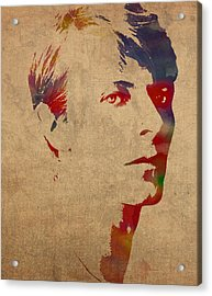 David Bowie Rock Star Musician Watercolor Portrait On Worn Distressed Canvas Acrylic Print by Design Turnpike