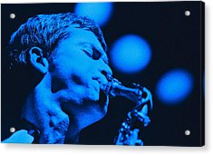 David Sanborn Blue Close Up Acrylic Print by Philippe Taka