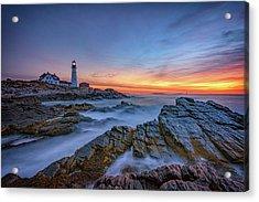 Dawn At Portland Head Lighthouse Acrylic Print by Rick Berk