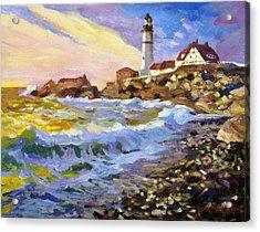 Dawn Breaks Cape Elizabeth Plein Air Acrylic Print by David Lloyd Glover