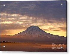 Dawn Mist About Mount Rainier Acrylic Print by Sean Griffin