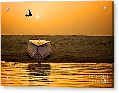 Dawn On The Ganga Acrylic Print by Valerie Rosen