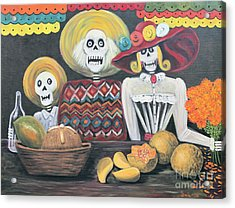 Day Of The Dead Family Acrylic Print by Sonia Flores Ruiz