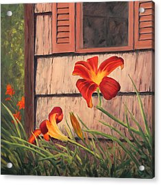 Daylilies At The Shed Acrylic Print by Elaine Farmer