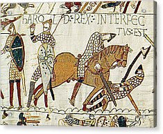 Death Of Harold, Bayeux Tapestry Acrylic Print by Photo Researchers
